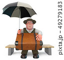 3d illustration fat and cheerful man with umbrella 49279183