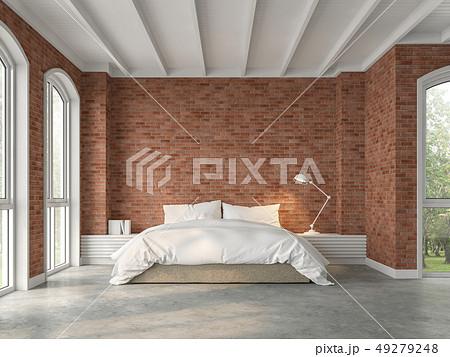 Modern loft bedroom 3d render 49279248