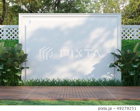 Empty white wall in the garden 3d render 49279251