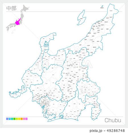 中部の地図・Chubu(白地図風) 49286748