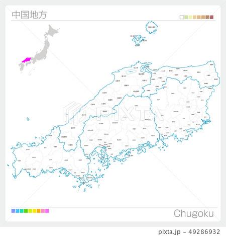 中国地方の地図・Chugoku(白地図風) 49286932
