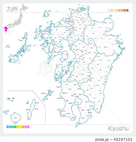 九州地方の地図・Kyushu(白地図風) 49287102