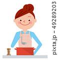 女性 白バック 料理のイラスト 49289203