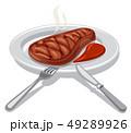 ビフテキ ビーフ ステーキ肉のイラスト 49289926