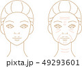 しわ 女性 ビフォアアフター 線画 49293601