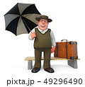 3d illustration fat and cheerful man with umbrella 49296490