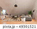3d illustration interior design ilving room of the attic floor of a private cottage 49301521
