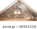 3d illustration interior design ilving room of the attic floor of a private cottage 49301528