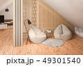 3d render interior design of the attic floor of a private cottage 49301540