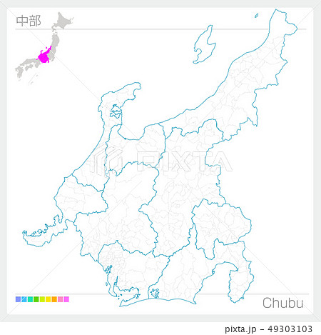 中部の地図・Chubu(白地図風) 49303103