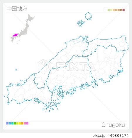 中国地方の地図・Chugoku(白地図風) 49303174