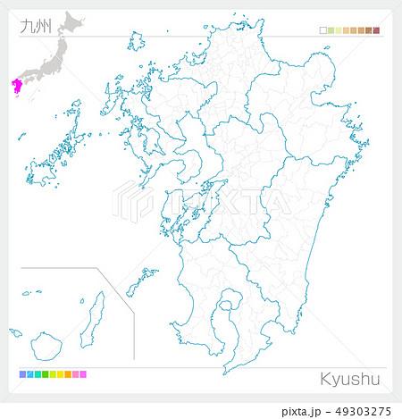 九州地方の地図・Kyushu(白地図風) 49303275