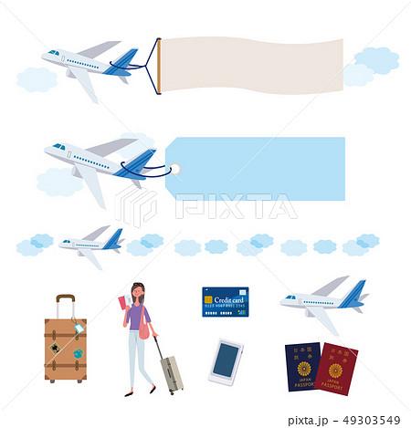 飛行機 旅行 イメージ イラスト セット 49303549