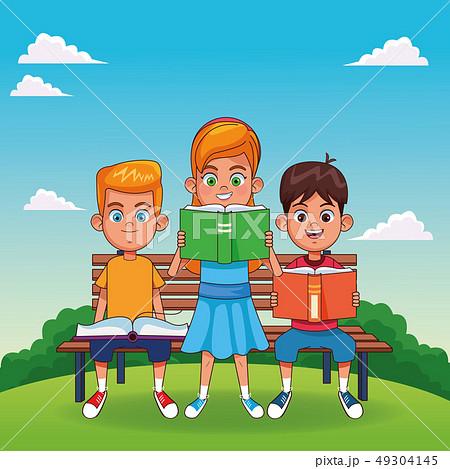 Kids with books cartoons 49304145