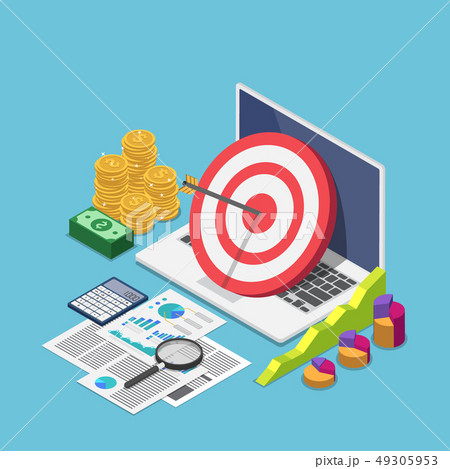 Isometric target with arrow hit the center on 49305953