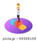 Isometric businessman raise up winner trophy on 49308109