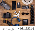 Top view of different film maker accessories over wooden table 49313514