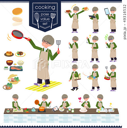 flat type green Coach jacket man_cooking 49316532