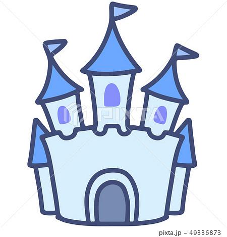 シンプルで可愛いメルヘンなお城のイラスト 主線あり 49336873