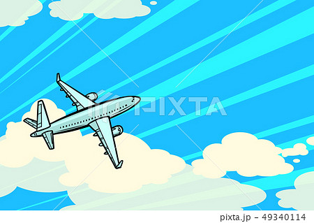 the plane is flying in the clouds. air transport aviation 49340114