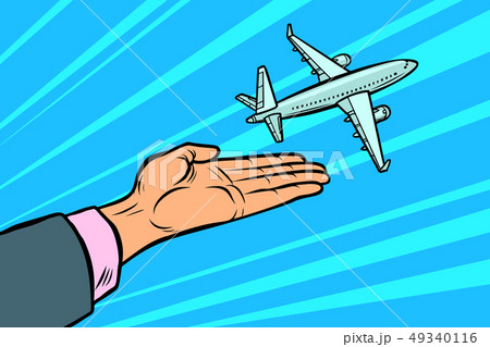 the plane takes off from his hands. flight travel tourism 49340116
