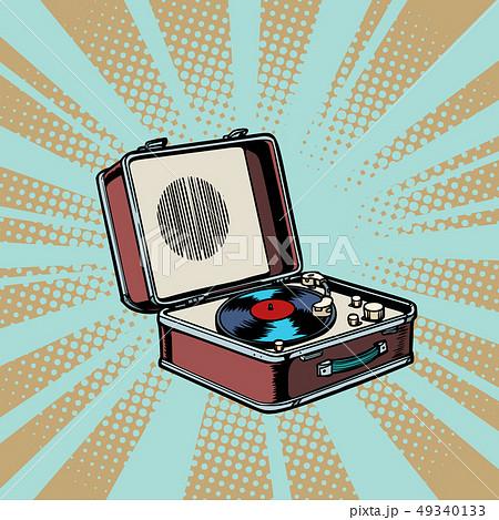 retro vinyl record player pop art background 49340133