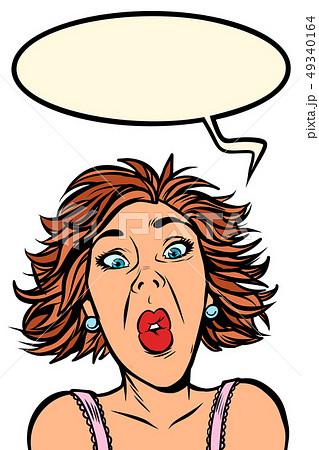Funny woman screams, strange facial expressions 49340164