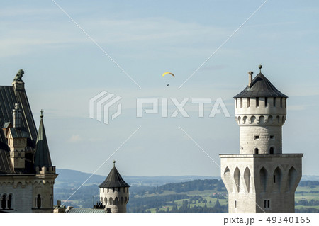 summer landscape with beautiful famous castle Neuschwanstein 49340165