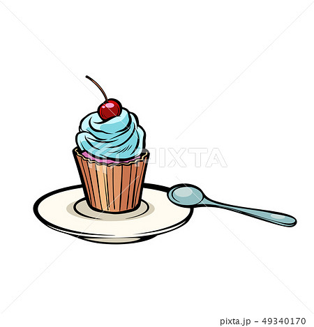 cupcake with a dessert spoon 49340170