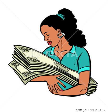 african woman loves money. isolate on white background 49340185