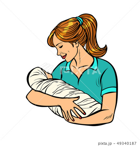 mother with newborn, woman and child isolate on white background 49340187