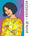 Asian woman with a Cup of coffee 49340204
