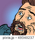 Scared bearded hipster man, fear and horror. face close-up 49340237