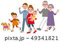 歩く 三世代 家族 犬 49341821