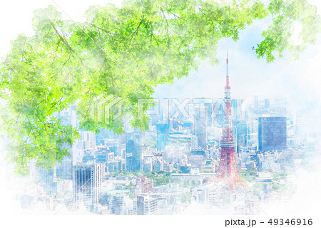 初夏の東京 水彩画風 49346916