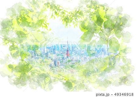 初夏の東京 水彩画風 49346918