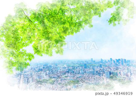初夏の東京 水彩画風 49346919