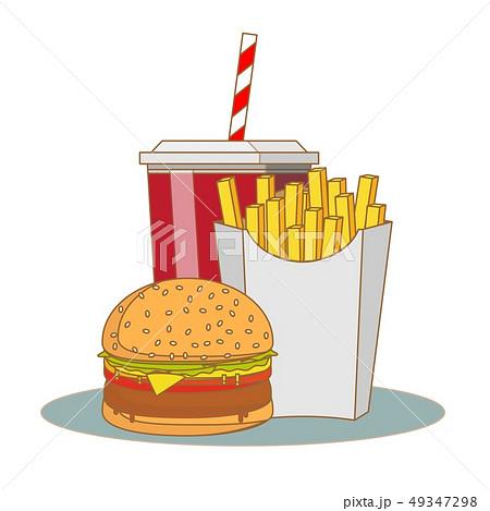 French fries, hamburger and soda takeaway vector illustration.fast food menu 49347298
