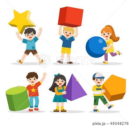 Children with simple geometry forms. 49348276