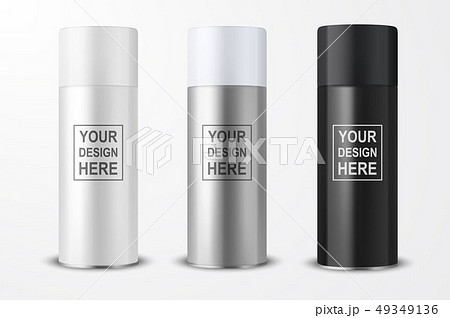Vector 3d Realistic White Blank Spray Can, bottle Icon Set Closeup Isolated on White Background 49349136