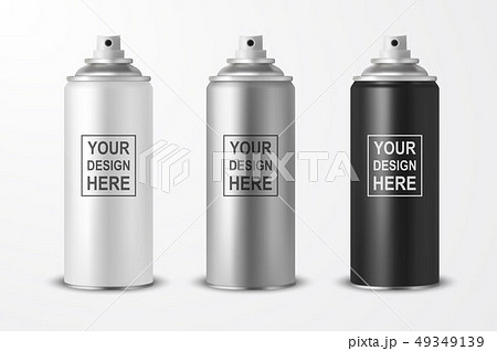 Vector 3d Realistic White Blank Spray Can, bottle Icon Set Closeup Isolated on White Background 49349139