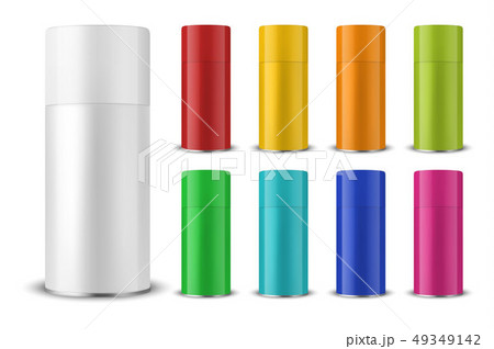 Vector 3d Realistic Colorful Blank Spray Can, Spray Bottle with Cap Set Closeup Isolated on White 49349142