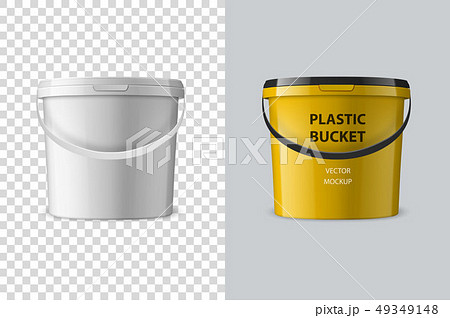 Vector Realistic 3d White Plastic Bucket for Food Products, Paint, Foodstuff, Adhesives, Primers 49349148