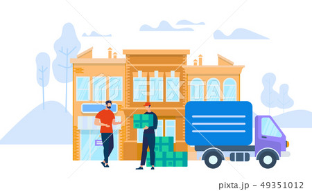 Man Worker in Uniform Giving Box to Young Man 49351012
