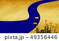 黄色い花と川の和柄背景 49356446