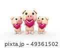 豚 ピンク ハート 49361502