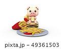 フライドポテト 豚 ファーストフード 49361503