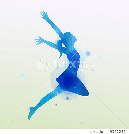 Watercolor of  woman jumping into the air isolated 49362235