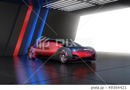 モダンな駐車場に止めてあるメタリックレッド色の自動運転電気自動車高級サルーン 49364421