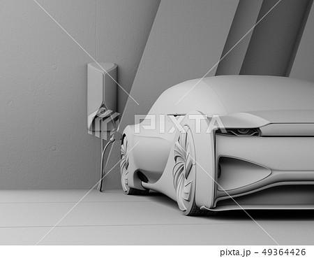 充電スタンドに充電している自動運転高級サルーンのクレイシェーディングイメージ 49364426